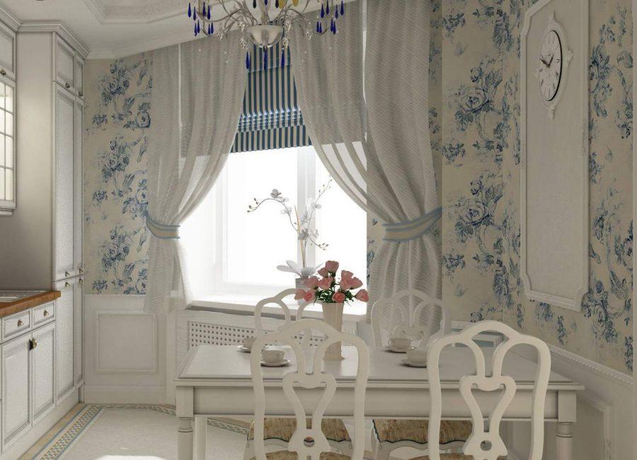 Комплект штор для кухни в стиле прованс