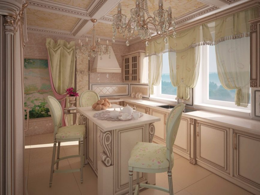 Интерьер кухни с короткими шторками в стиле Прованс