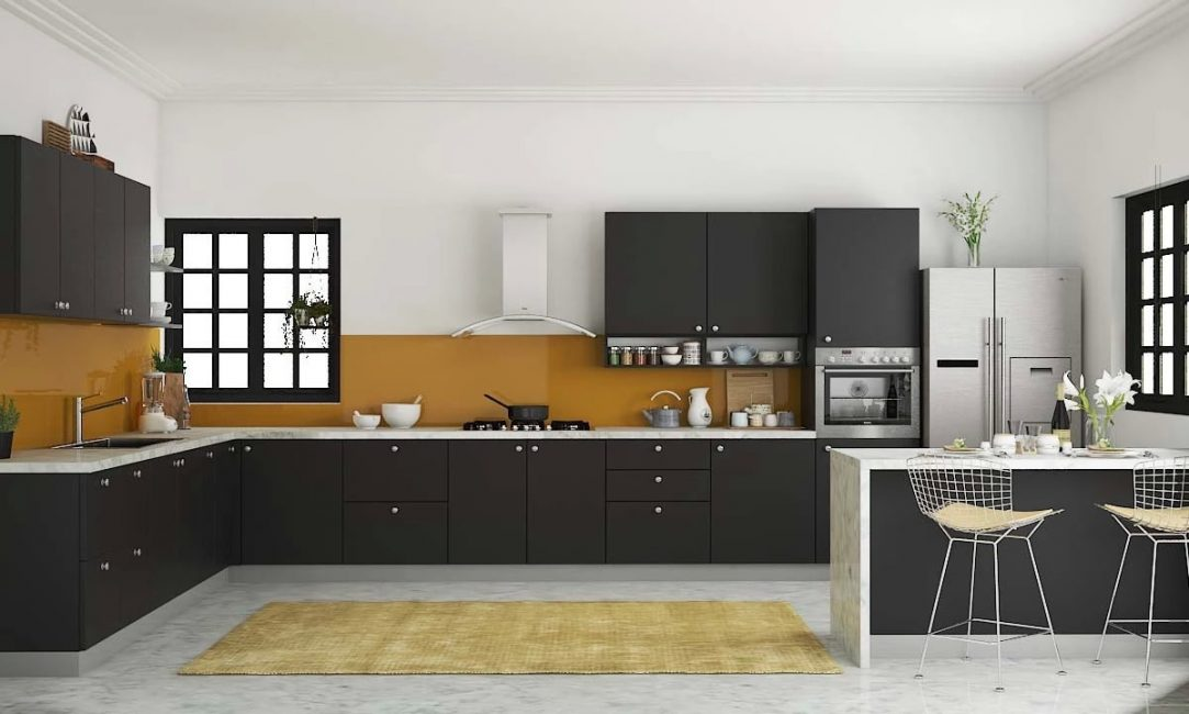 Матово-черная кухня с мраморной столешницей