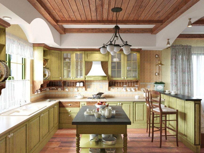 Кухня в стиле прованс в светло оливковых тонах с деревянными акцентами