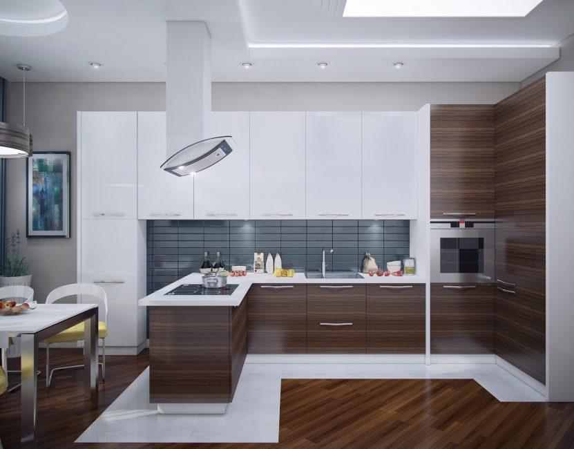 Большая угловая встроенная кухня со столовой - само совершенство