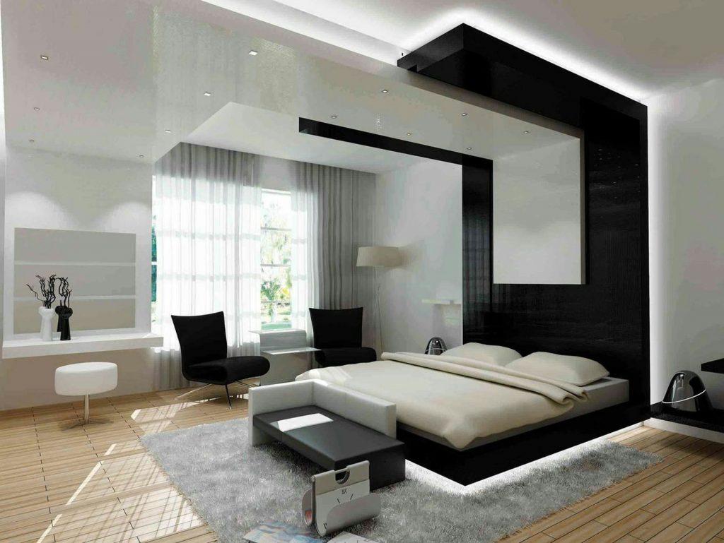 Дизайн спальни в современном стиле (125+ Фото) - Белые шторы/обои/шкаф. Как не переборщить с выбором?