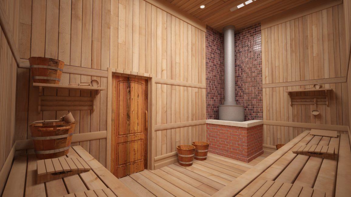 Это полностью деревянное помещение
