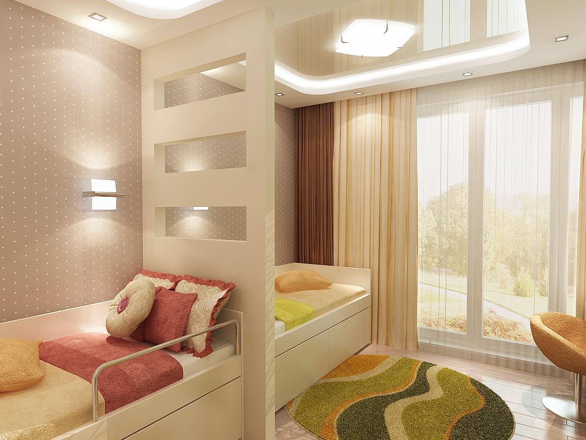 Одним из вариантов для деления просторной комнаты станет перегородка, арка или штора из плотной ткани.