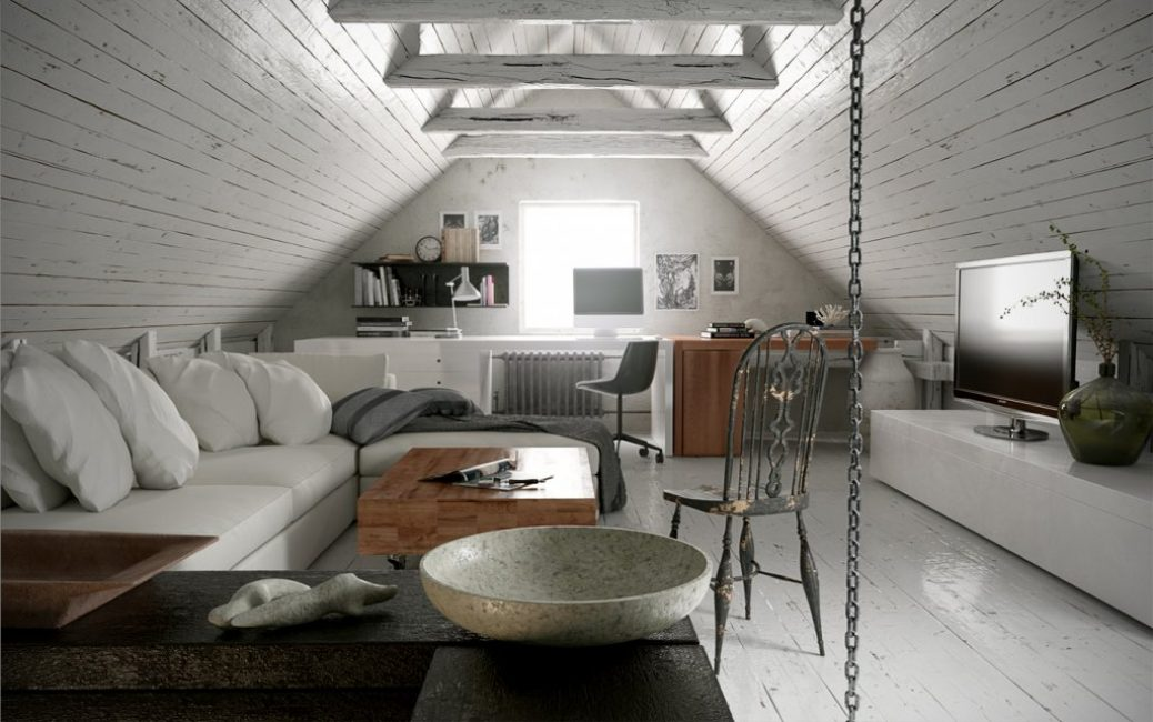 Потолочные балки часто используют в данном помещении