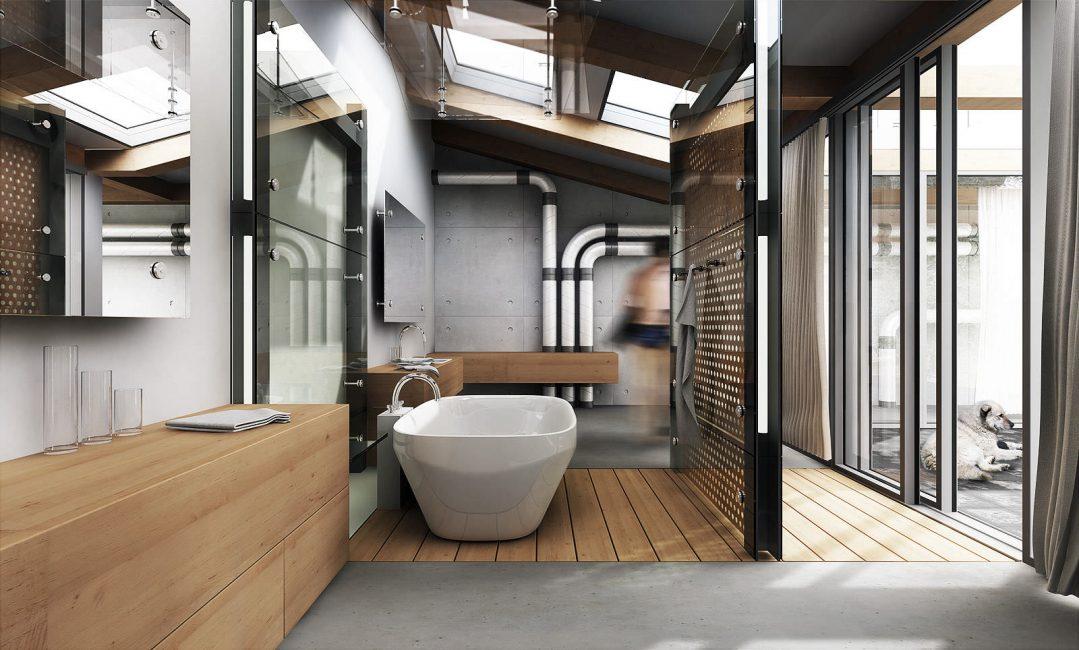 Серый бетон или неоштукатуренный кирпич будут смотреться органично