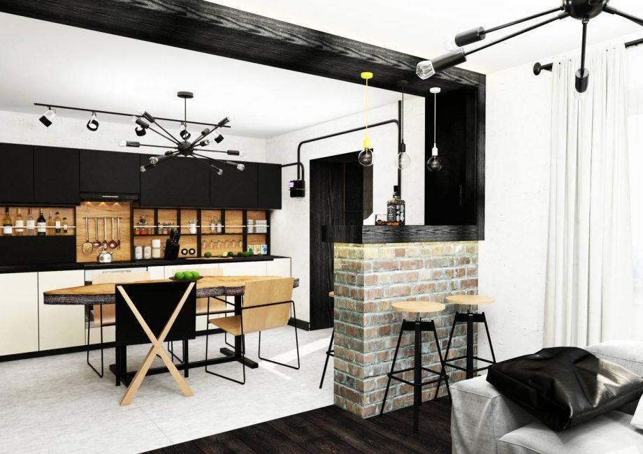 Обычно такую кухню объединяют с другими помещениями