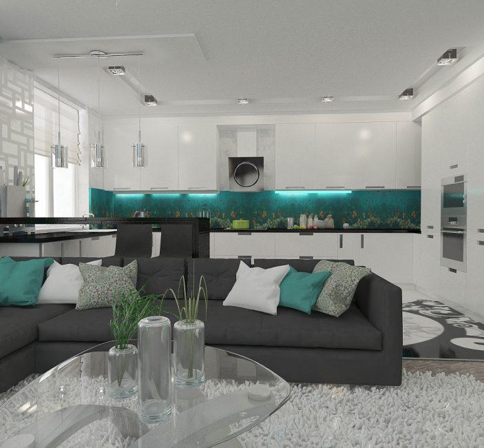 Интересная комбинация цвета кухни и гостиной