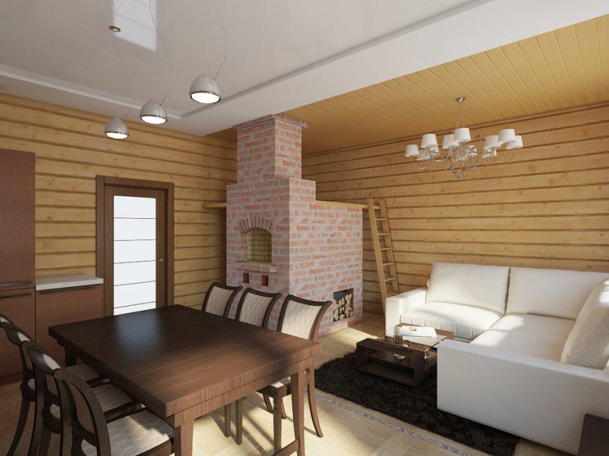 Строгий дизайн печки гармонирует с дорогой мебелью