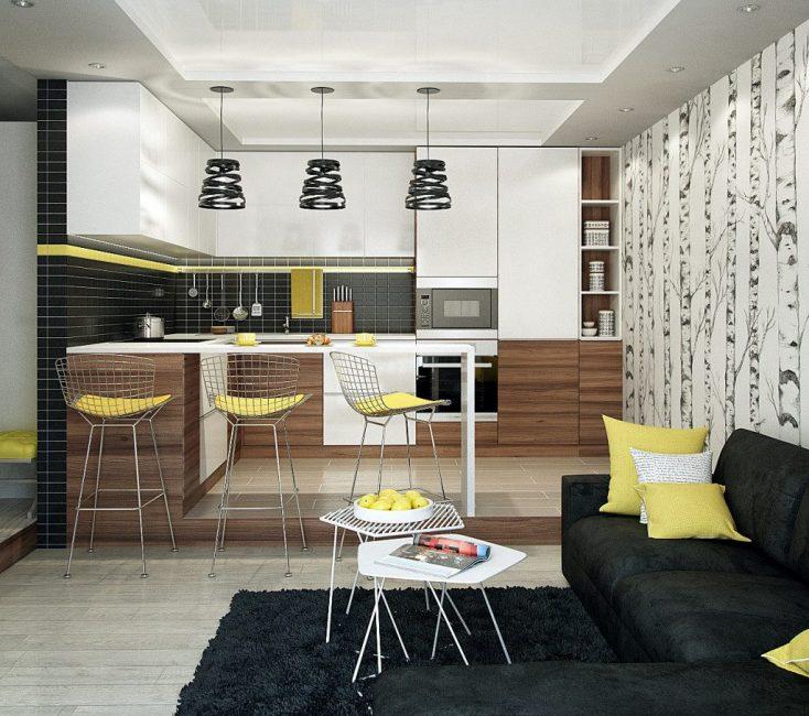 Сочетание приглушенных тонов в интерьере кухни