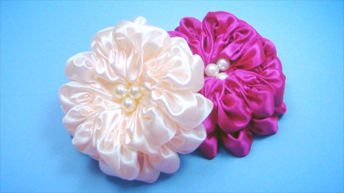 Цветы из атлас своими руками 28