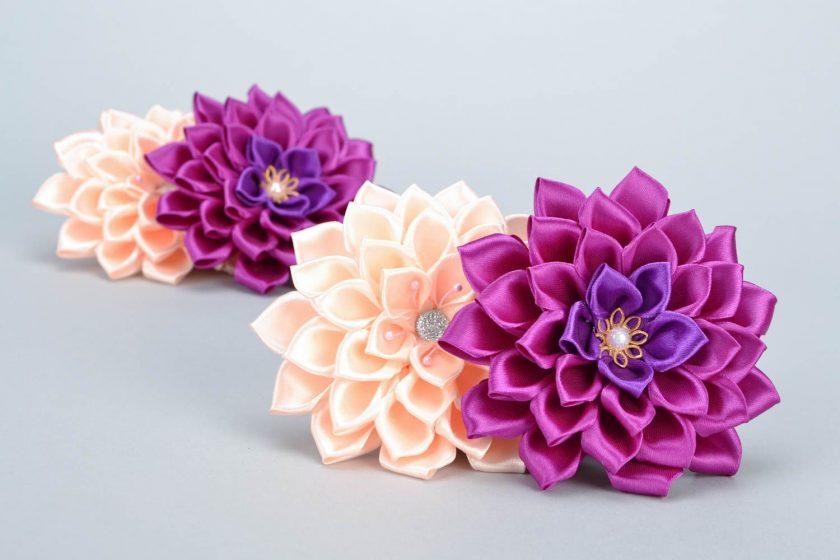 Цветки из атласных лент своими руками сложно 73