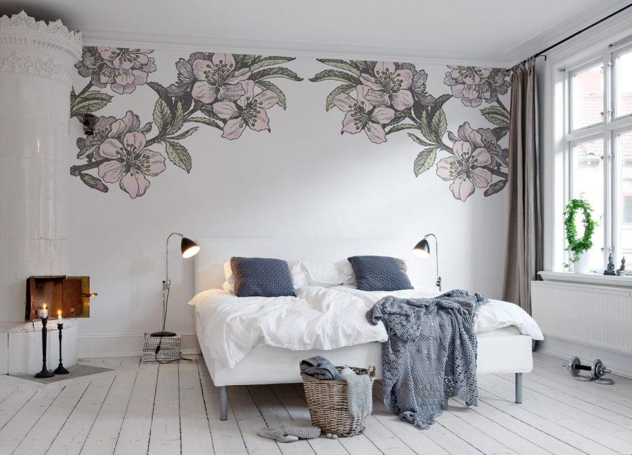 Орнамент на стене – пример декоративного оформления