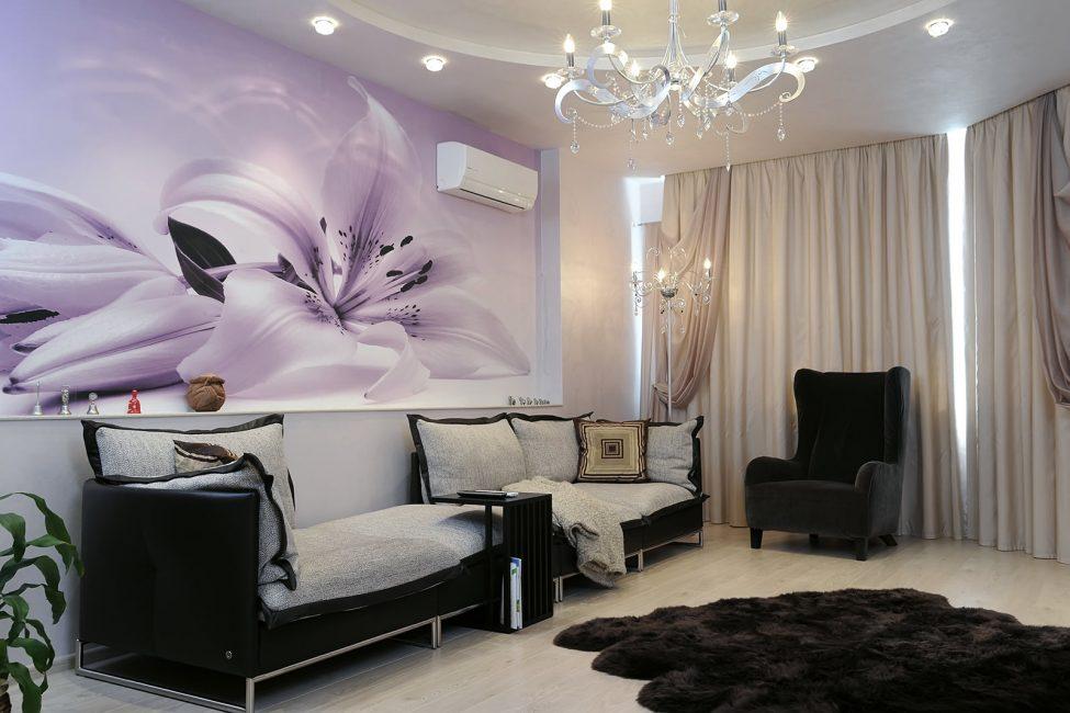 Яркий элемент в гостиной