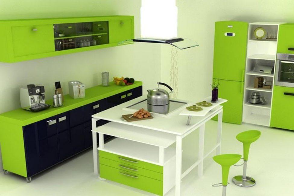 В черном-зеленом интерьере необходимы фрагментарные яркие акценты