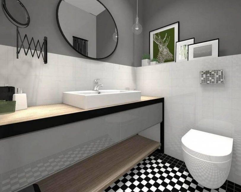 Поможет зрительно увеличить размер ванной комнаты
