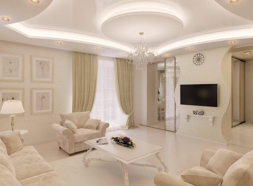 Светлая, уютная гостиная