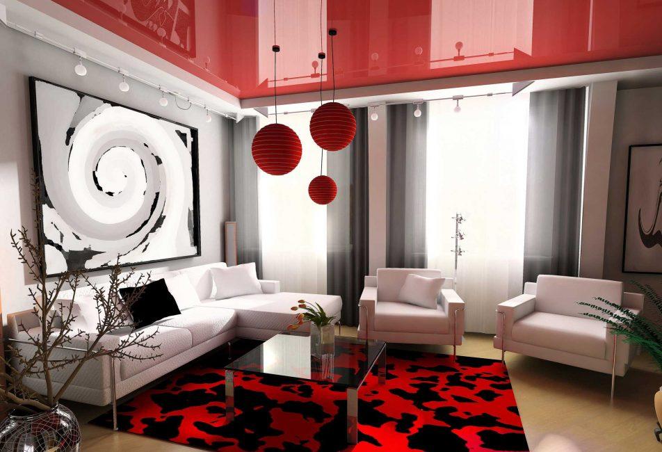 Красно-белая гостиная в стиле модерн