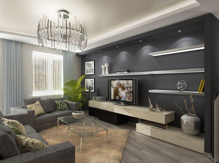 Красивая и стильная гостиная в серых тонах
