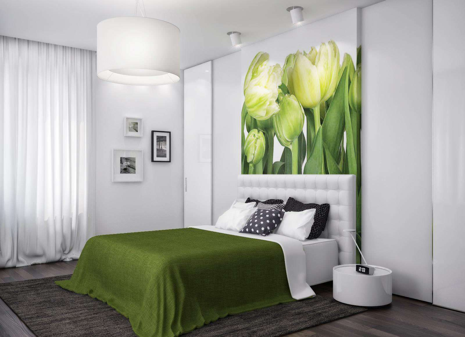 Фотообои для спальни фото в интерьере для маленьких комнат