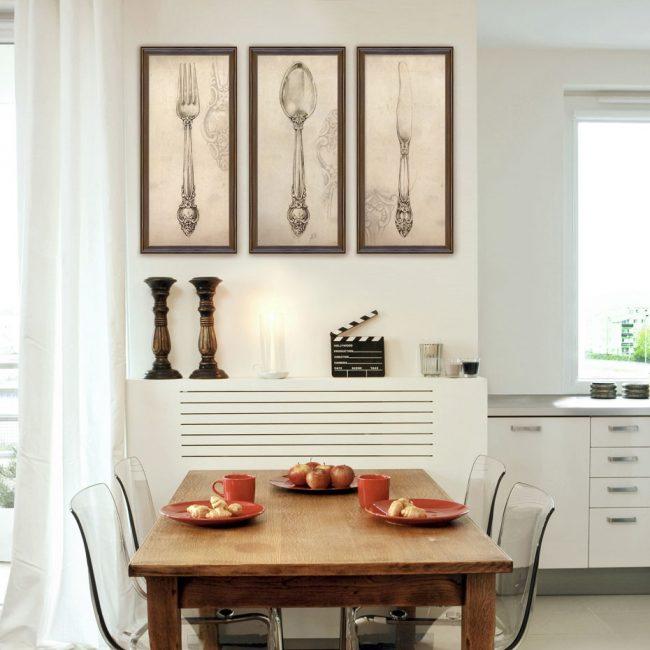 Интересные полотна с столовыми приборами