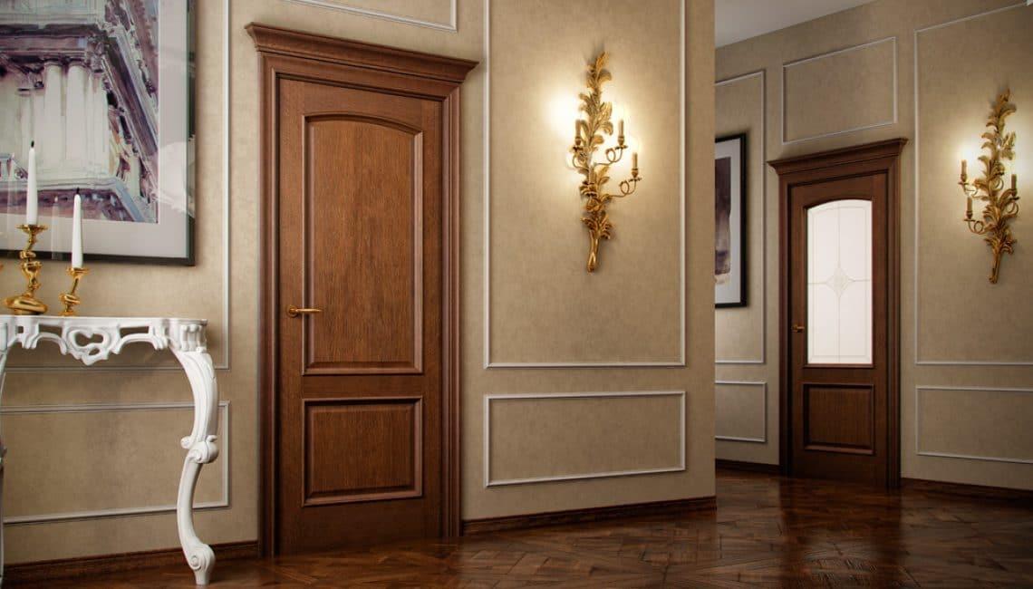 Нейтральный цвет у дверей — чаще всего это натуральное дерево
