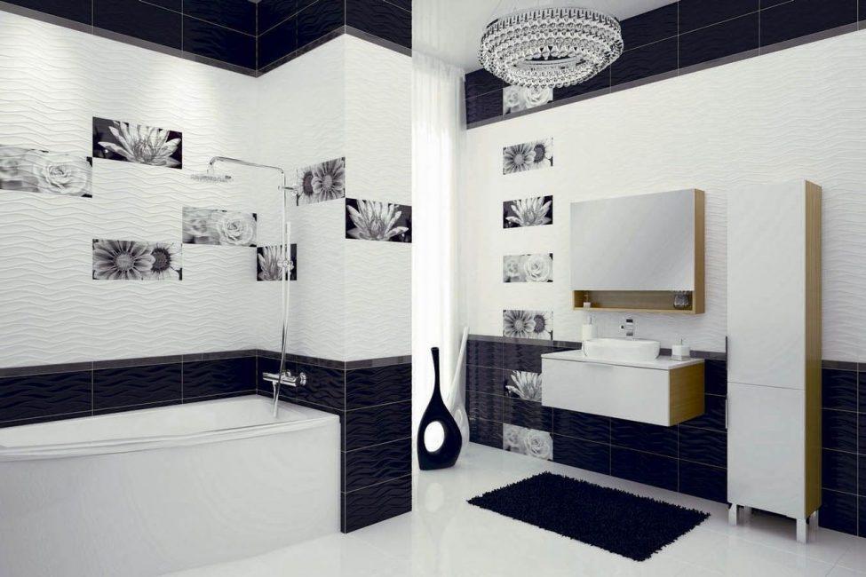 Для маленькой ванной лучше выбрать однотонную композицию