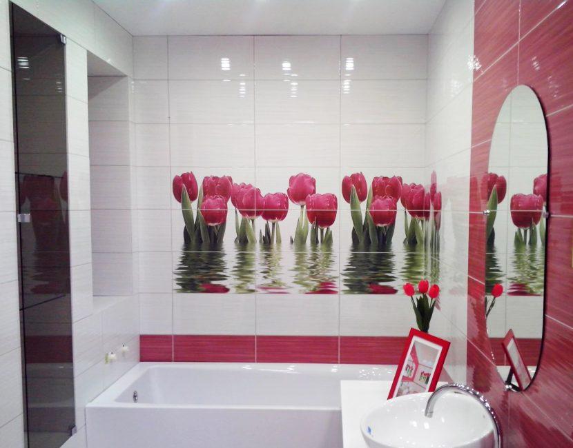 Керамическая плитка с тюльпанами