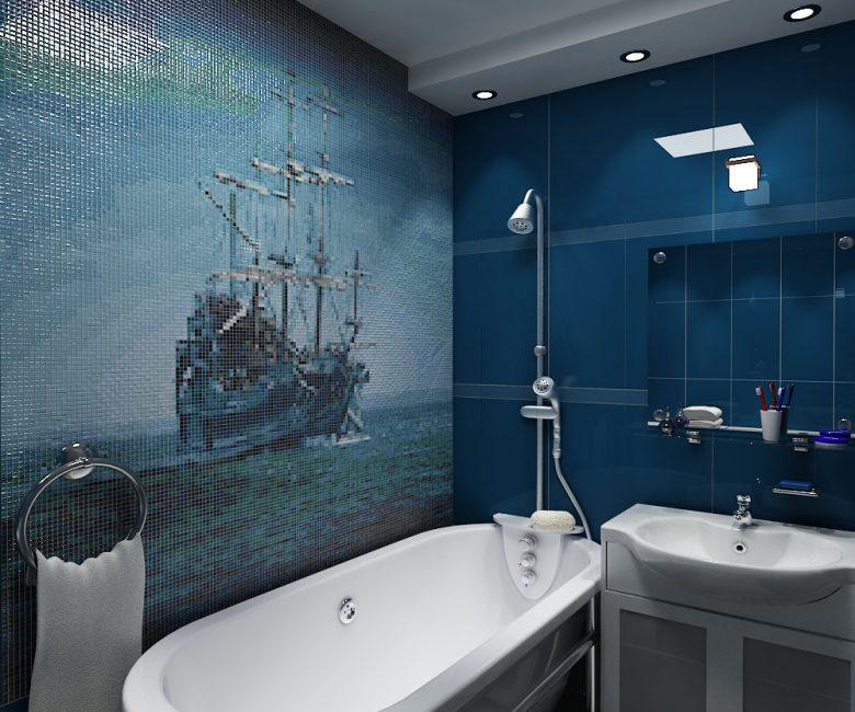 Покраска стены в морскую тематику