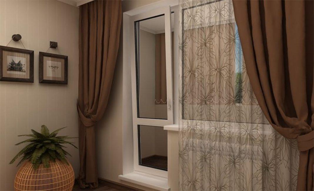 Шторы на балконную дверь приобретают готовыми или шьют своими руками