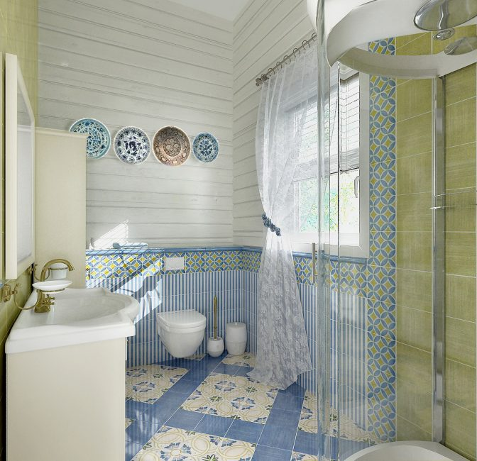 Для отделки стен используется древесина или керамика