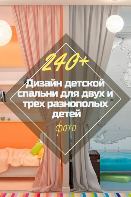 Дизайн детской спальни для двух и трех разнополых детей