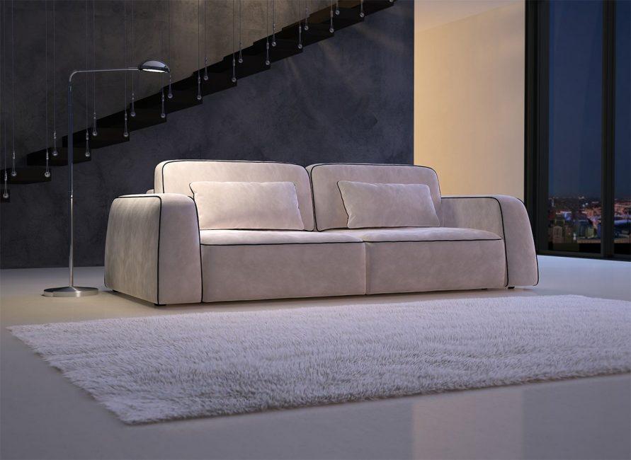 Велюровый, бежевый диван
