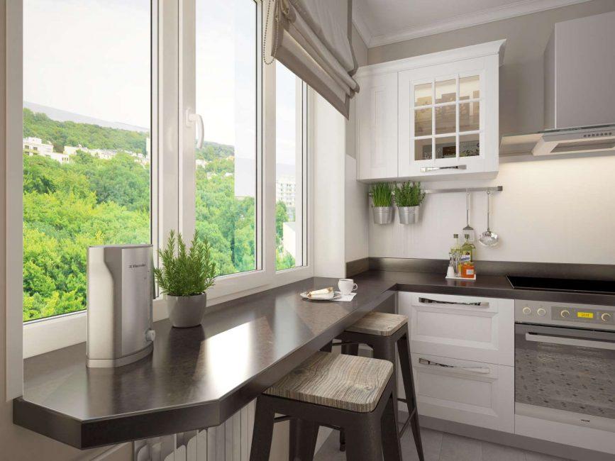 Стойка-подоконник для небольших кухонь