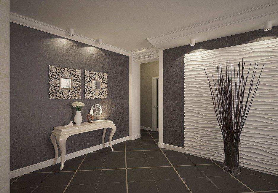 Темные стены прекрасно оттеняют белые двери