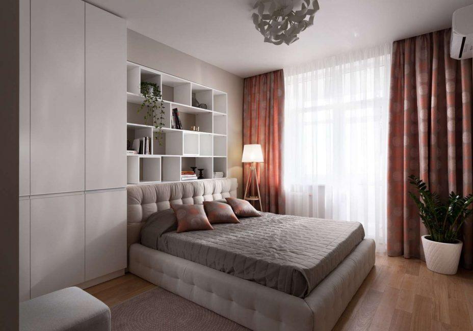 Стильная кровать в интерьере спальни