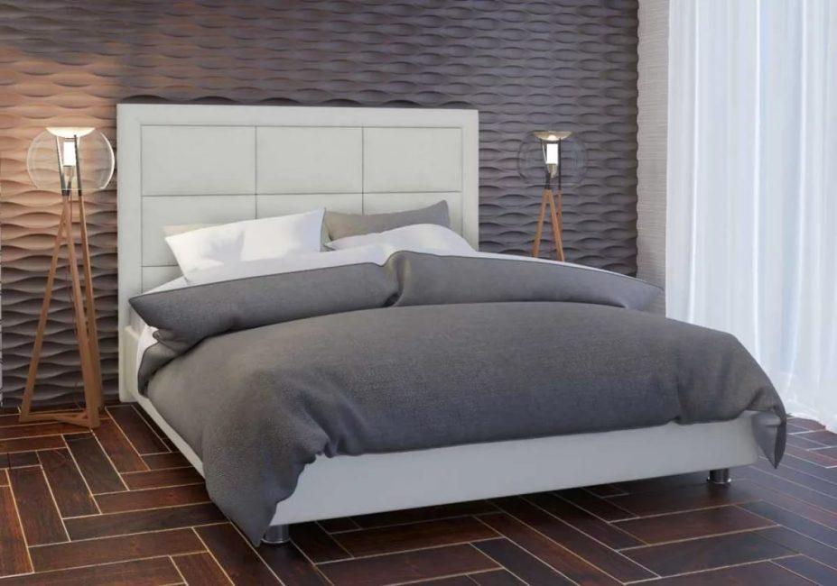 В стиле модерн - основной акцент на изголовье с подушками