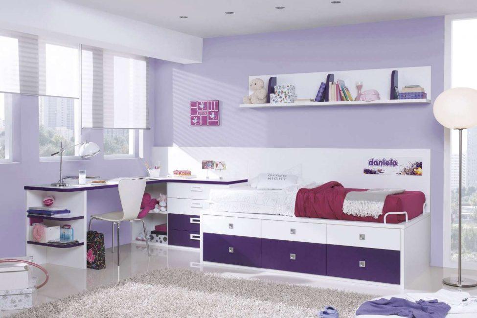 Светло-сиреневый оттенок в детской комнате