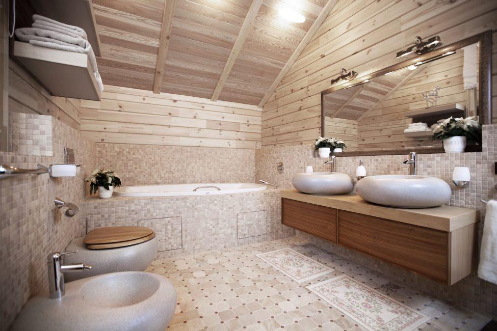 Красивая ванная с каменными раковинами и унитазом