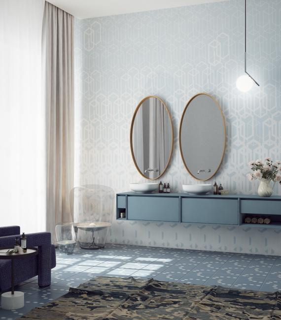 Вариант оформления большой ванной комнаты