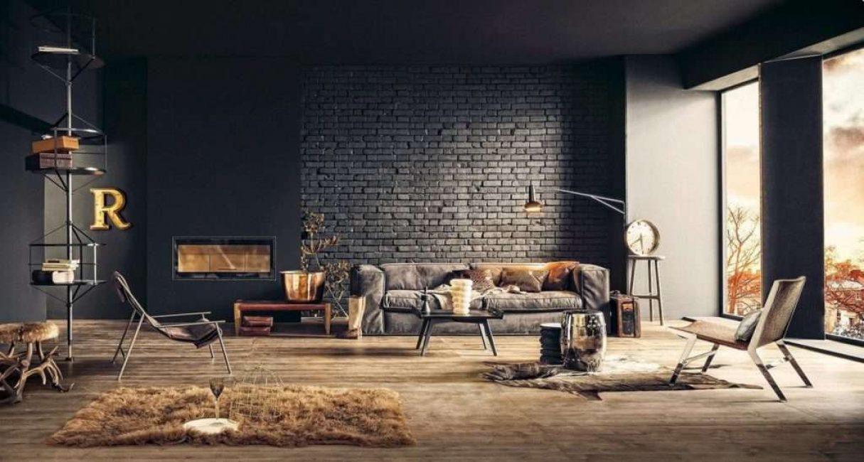 Темный кирпич нужно разбавлять светлой мебелью