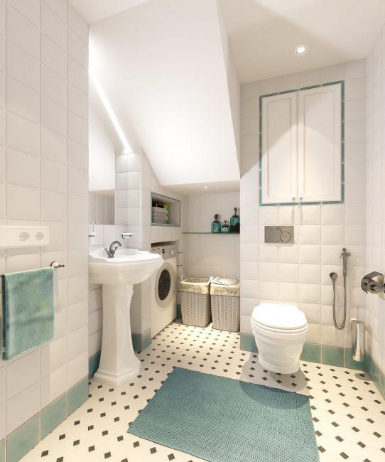 Ванная комната в бело-бирюзовых цветах