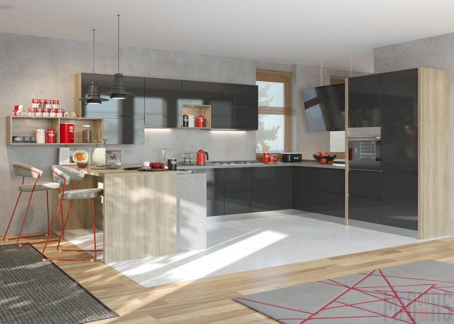 Дизайн кухни в красно-черных тонах
