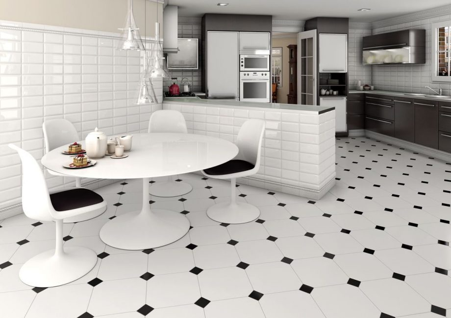 Плитка в кухне на полу