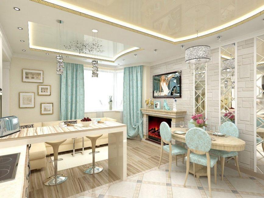 Шикарная светло-голубая кухня
