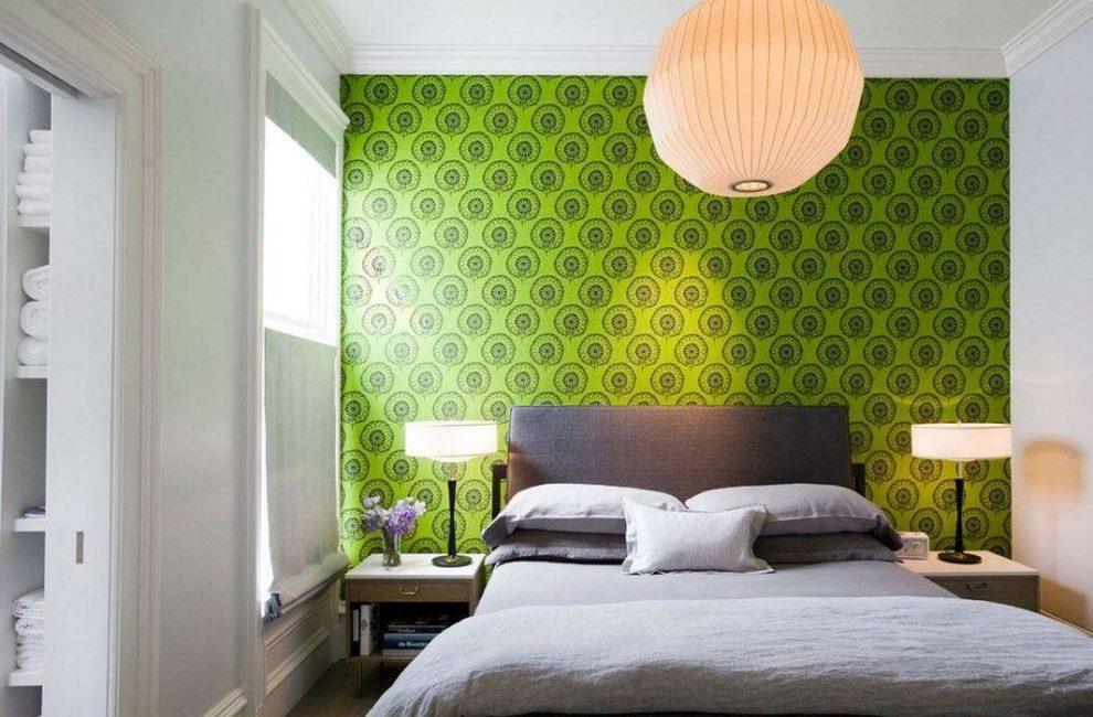 Зеленый акцент в виде стены