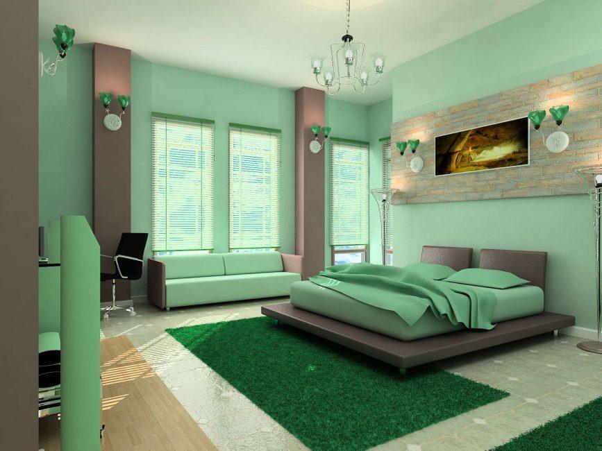 Потолок с мятным оттенком