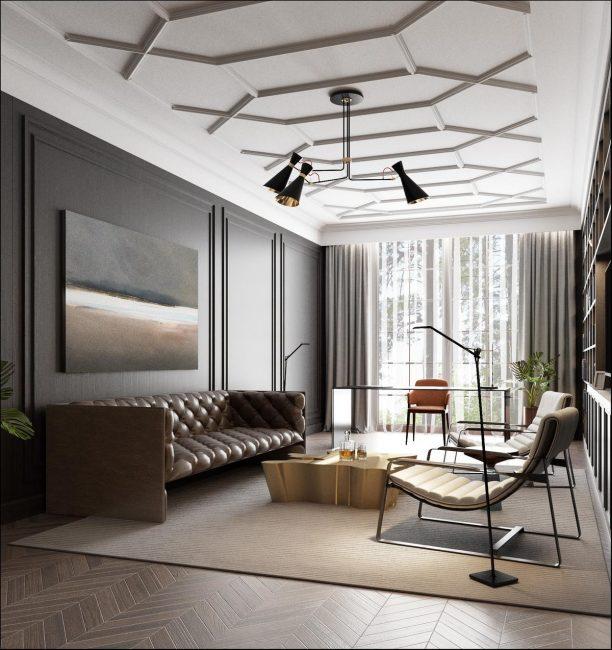 Для большой комнаты можно выбирать широкие плинтусы