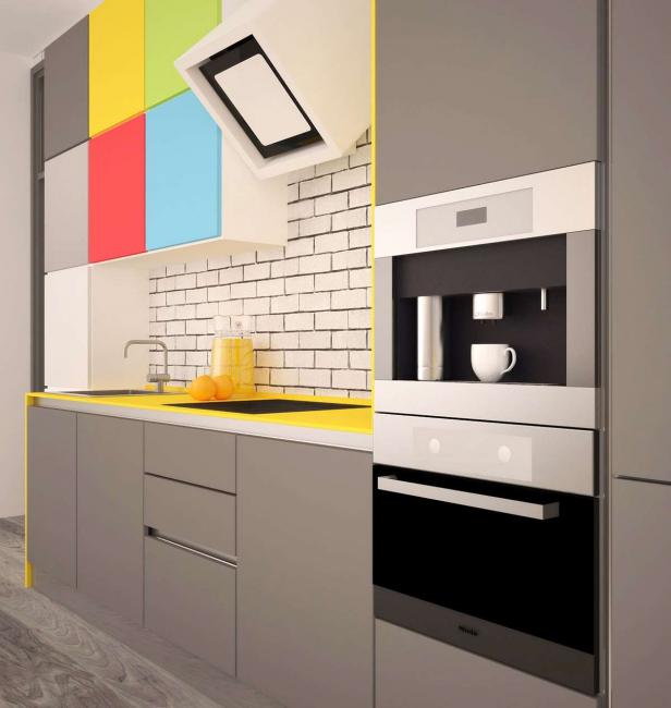 Смелое решение - яркие фасады нескольких шкафов