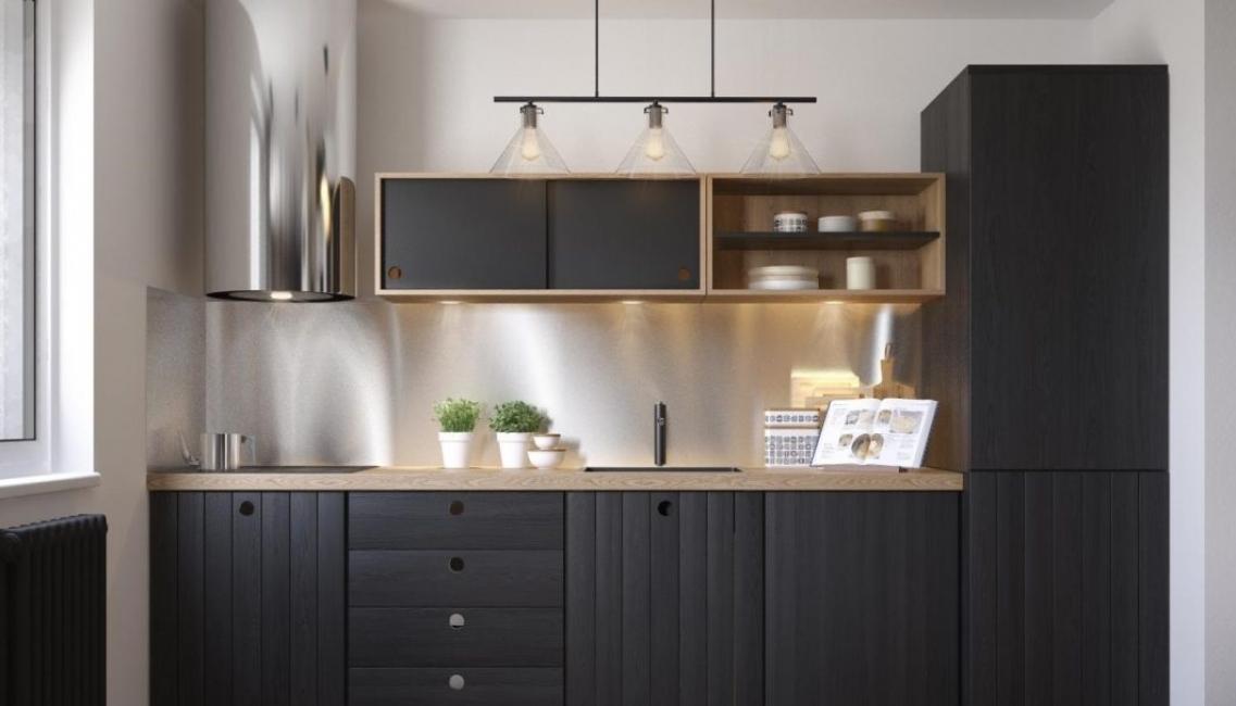 Черный цвет позволит реализовать эффектный интерьер кухни